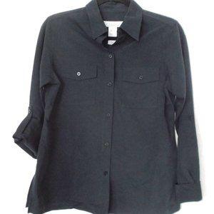 Vintage ~Micro Suede Feel~ NAVY Blouse Roll Sleeve